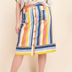 GILLI Striped Button Front Aline Skirt